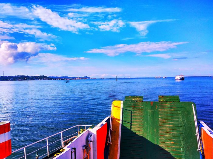 Menyebrang Water Nautical Vessel Sea Oil Pump Multi Colored Blue Harbor Beach Sailing Ship Sailing