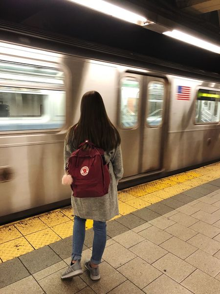 New York City Transportation Public Transportation Mode Of Transportation Rear View Full Length Rail Transportation Real People Railroad Station Standing Architecture One Person Casual Clothing Travel Subway Railroad Station Platform Train - Vehicle Subway Train Lifestyles It's About The Journey