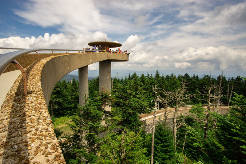 Clingmans Dome Clingmans Dome Hike Great Smoky Mountains  National Park Elevated View Elevated Walkway Walkway Built Structure Oval Spiral Cloud - Sky Tourist Attraction  People Tree Sky Architecture Cloud - Sky