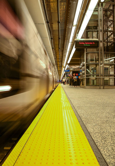 86th street Q train, NYC. Photographed by Cooper Billington. City Life Colors NYC Indoors  Motion Photo Photography Public Transportation Rail Transportation Subway Train Transportation Yellow