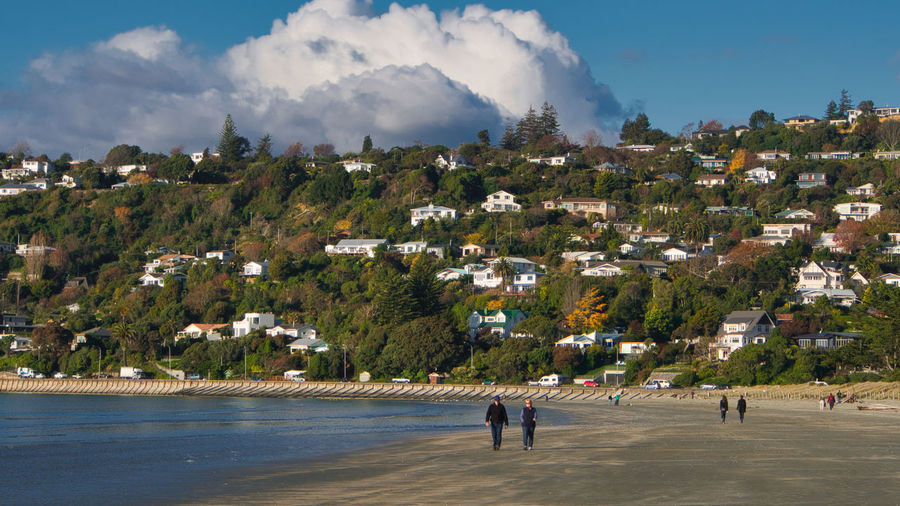 Nelson's Port Hills and Tahunanui Beach New Zealand Landscape Architecture Beauty In Nature Building Exterior Built Structure City Cloud - Sky Day Men Mountain Nature Outdoors People Real People Sky Tree Water