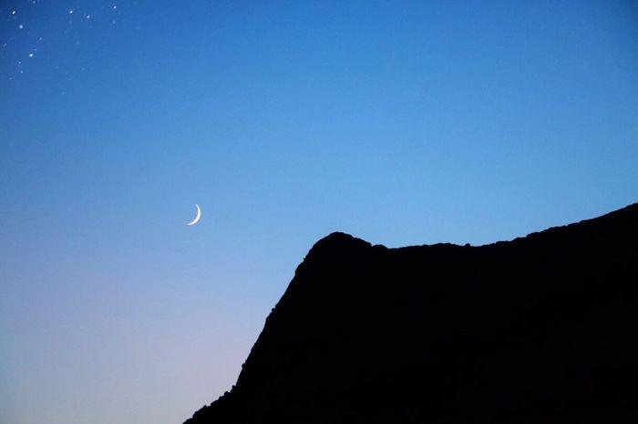 Moon Sky Mountain Night Nightphotography Blue Sky Canonphotography Dreaming Contrast Stars Corsica Monte Gozzi Nightfall