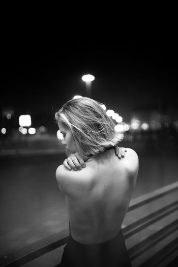 Adult Back Berlin Blackandwhite Blond Close-up Girl Illuminated Night One Person Outdoors People Fresh On Market 2017 Stories From The City