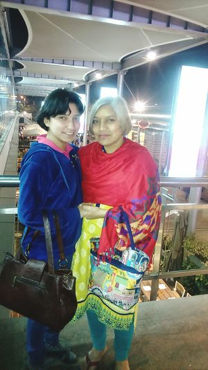 Two People Women Gurgaoncyberhub Outing Mom And Daughter Looking At Camera