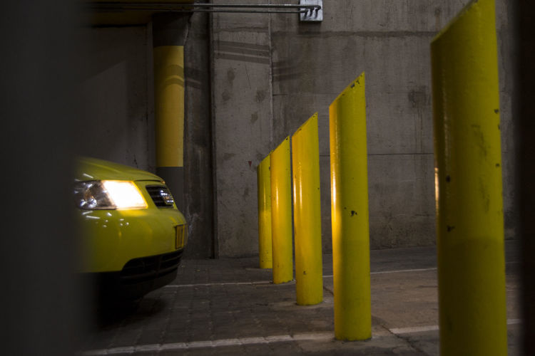 Photoshoot at underground parking with my yellow Audi A3 Yellow Car Architecture Yellow Taxi No People City Day Outdoors