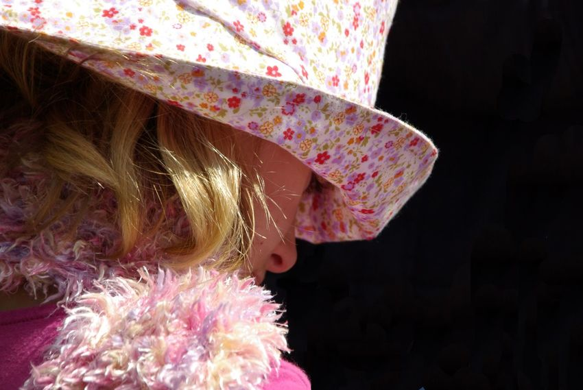 Blond Hair Close-up Girl With Hat Hats Pink Color Quiet Moments Softness Thoughts
