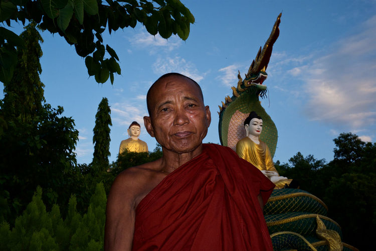 Laykyun Sekkya Monk  Monywa Myanmar Portrait Sky Sky And Clouds Standing Buddha Sunset
