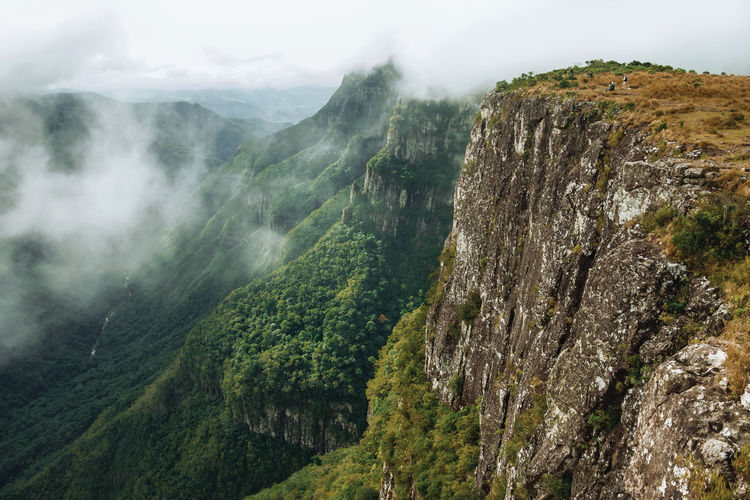 Fortaleza canyon with steep rocky cliffs and forest in a cloudy day near cambará do sul. brazil.