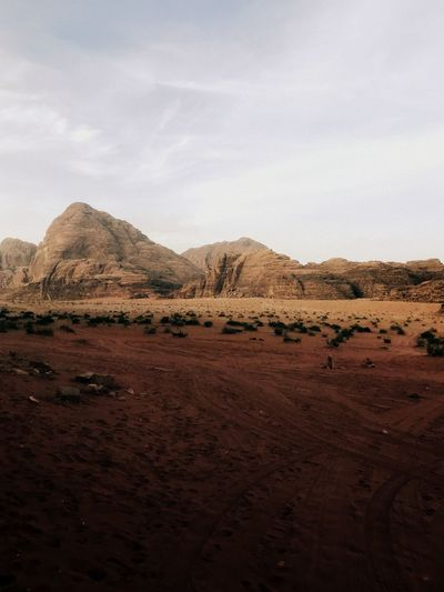 Scenic view of wadi rum desert against sky in jordan