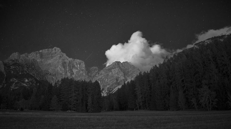 Astronomy Black And White Cloud Costellation Dolomiti Forest Italy Landscape Mountain Nature Night No People Outdoors San Vito Di Cadore Sky Space Stars Tree The Great Outdoors - 2017 EyeEm Awards Lost In The Landscape Black And White Friday
