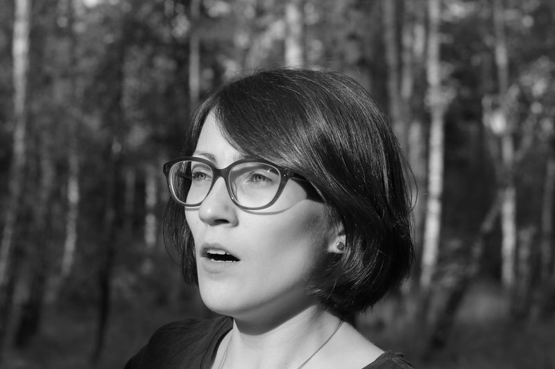 Cinematic Emotions Surprised Beautiful Woman Black And White Blackandwhite Cinematography Day Eyeglasses  Forest Hipster Mood Moody One Person Outdoors Real People Shock Tree Young Adult Young Women