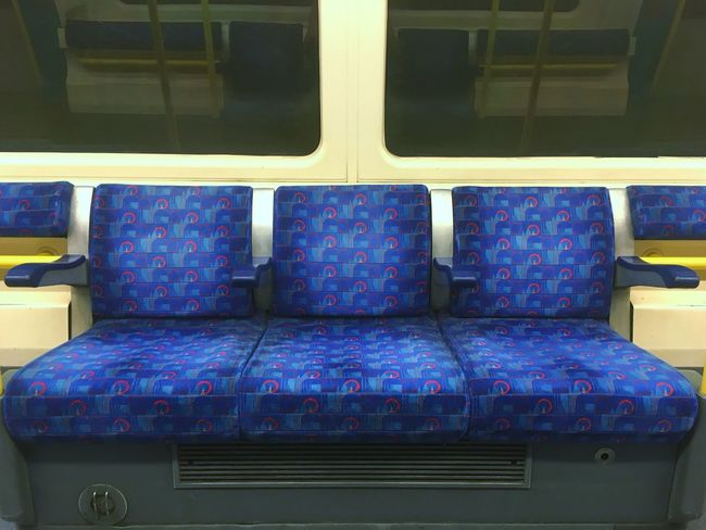 Indoors  Transportation No People Cushion Pillow Vehicle Seat Day London Underground Empty Empty Places Empty Chair Empty Train