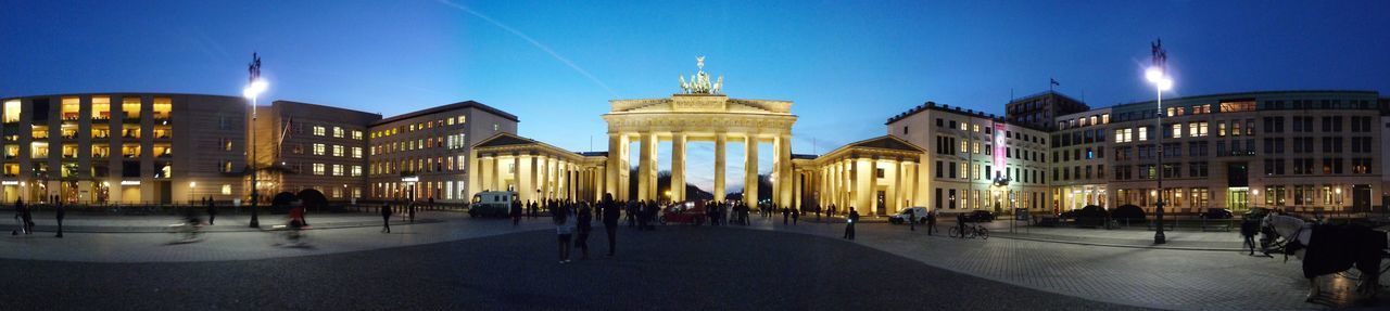 Architecture Berlin Blue Sky Brandenburg Gate City Cityscape Illuminated Nightphotography Panaramic Panorama Travel Destinations Discover Berlin Been There.