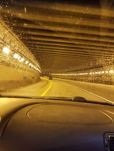 Tunnel Illuminated Road Motion Speed Car Land Vehicle Street Driving Yellow Car Point Of View Light At The End Of The Tunnel Light Trail