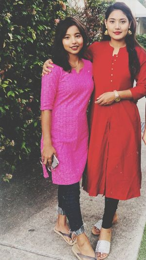 Dashain vibes💕 Frens Dost Fun Young Women Full Length Portrait Smiling Arm In Arm Sari Pink Lipstick  Posing