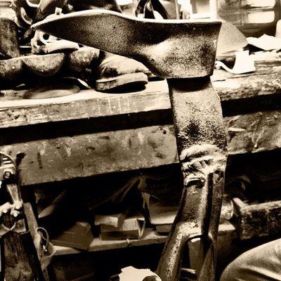 Shoe Repair Workshop Craftsman Mcallen Shoerepair Blackandwhite