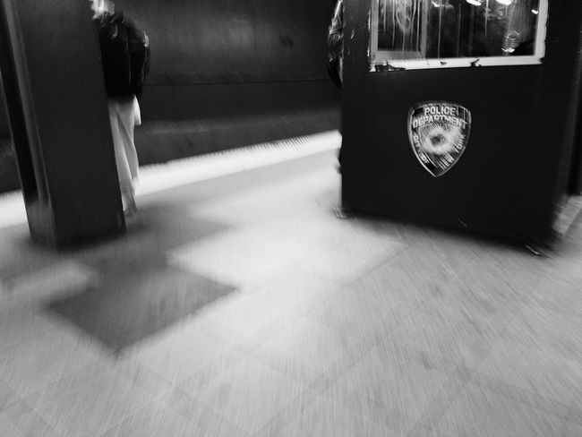 Fast Movement NYPD New York Bluelivesmatter Fear For Some Check This Out Justice Government Law Protection Black And White Photography Underground Subway Station Busy Place Blurry On Purpose Feel The Emotion