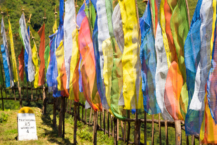 ASIA Travel Bhutan Buddhism In A Row Multi Colored Pattern Prayer Flags  Textile Tourism Travel Destinations Variation