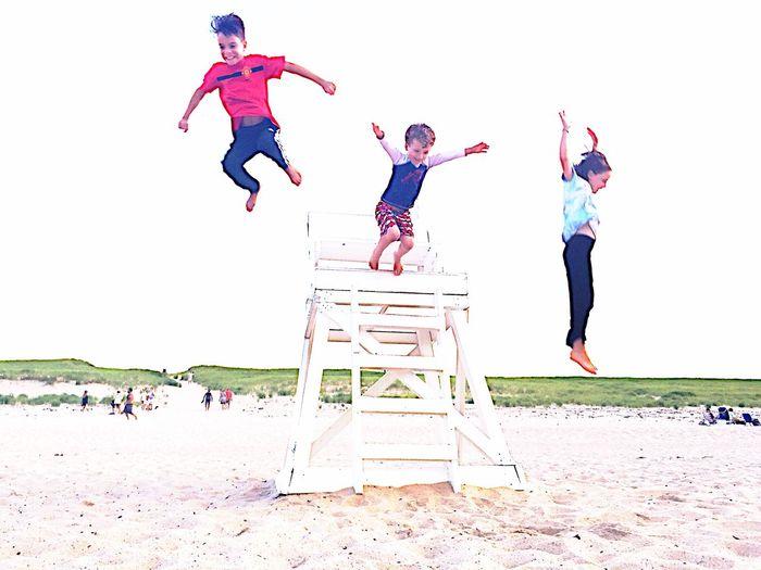 Race Point Beach, Cape Cod Provincetown  Kids Jumping Happy Beach Joy Children Childhood