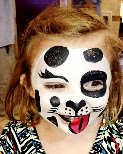 Abstract, child, red eyes, facepaint, Arts Culture And Entertainment Multi Colored Portrait Fashion Model Close-up Day One Young Woman Only