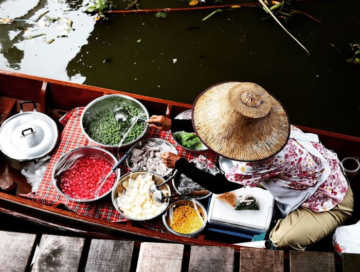 High angle view of food on boat