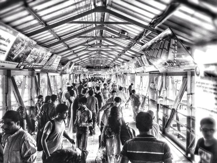 Pune Railway Station , India . Busy Crowd .