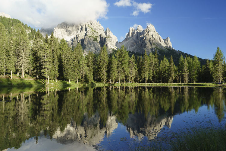 Trees and mountains reflecting in lake