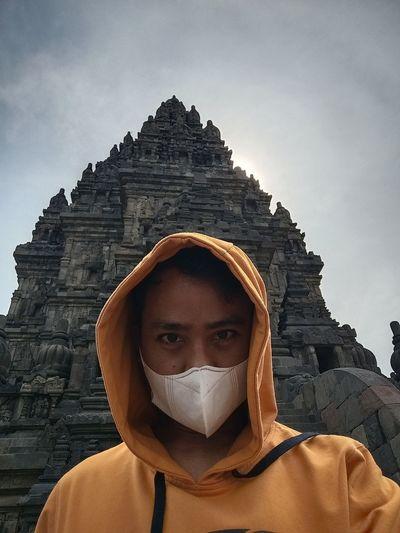 Portrait of senior man in temple