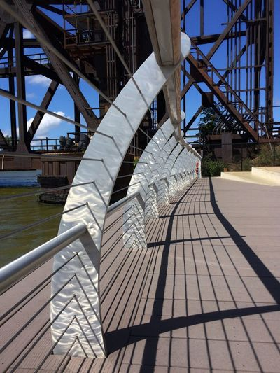 Railing River Water Bridge Bridges cleveland flats Cleveland Train Bridge Leading Lines Riverside City Landscape Urban Urban Geometry Outdoors Modern Day Bridge - Man Made Structure No People Sky Boat Deck Fresh On Eyeem