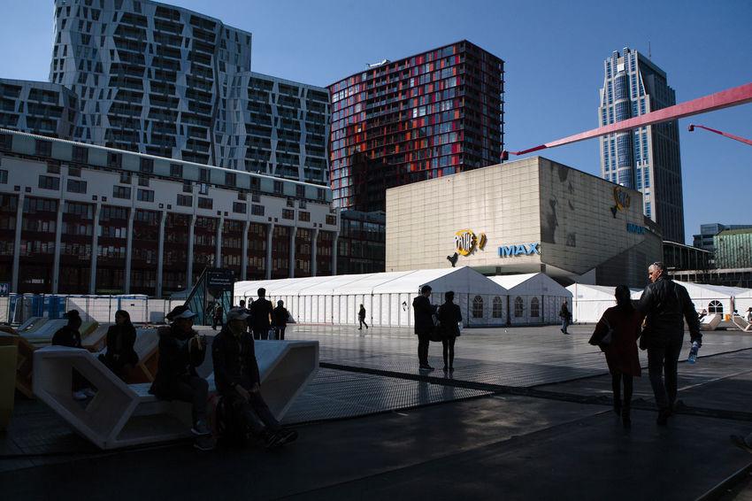 Building Exterior City Imax Modern Netherlands Office Outdoors People Rotterdam Schouwburgplein Skyscraper Urban Skyline