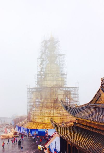 Mount Emei Golderntop under construction Mount Emei Temple Goldentop Buddhism Emeishan Ancient Architecture Ancient Building Backgrounds Construction Site One Of The Four Sacred Buddhist Mountains Of China People Religion Sichuan China 43 Golden Moments Colour Of Life A Bird's Eye View Eyeemphoto People And Places