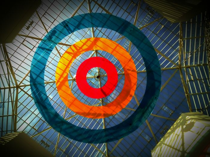 Ceiling Low Angle View Indoors  Architecture Built Structure Dome Architectural Feature Architectural Design Pattern Colorful Design Stained Glass Multi Colored Geometric Shape Skylight Decoration Circle Repetition Cupola Creativity From Where I Stand PhonePhotography University Of Geneva Abstract
