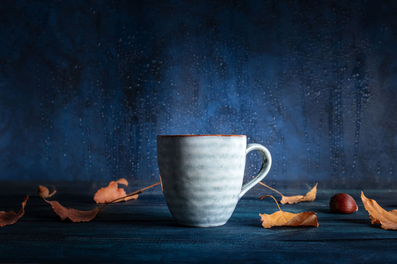A cup of tea with autumn leaves in front of a window with rain behind it, with a place for text