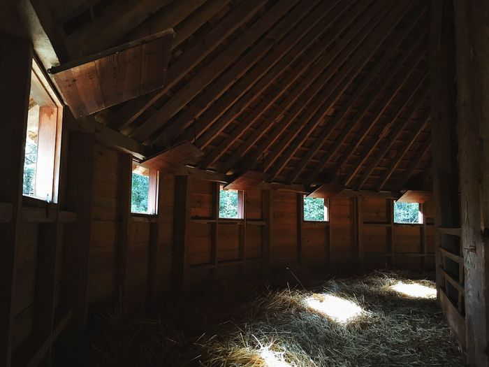 Interior of wooden barn