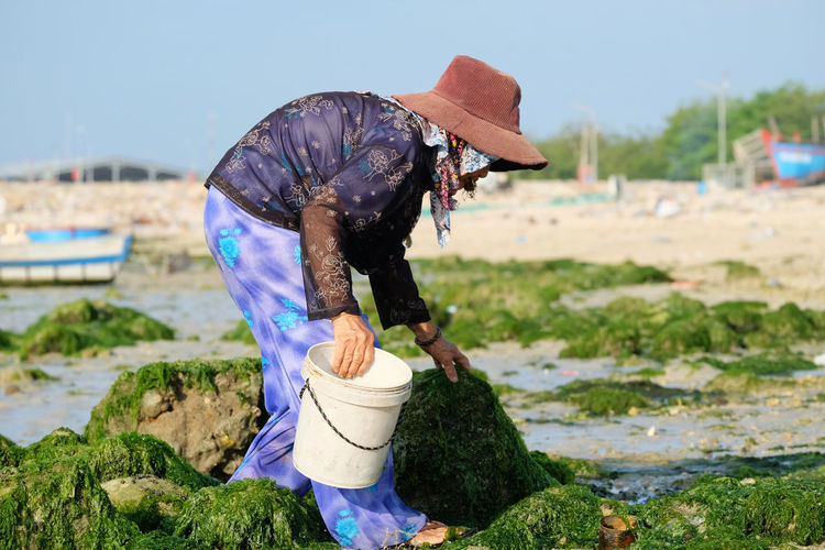 Side view of senior woman holding bucket while working on mossy rocks at beach