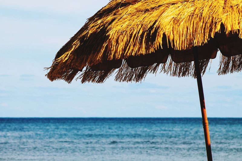 Thatched roof against sea