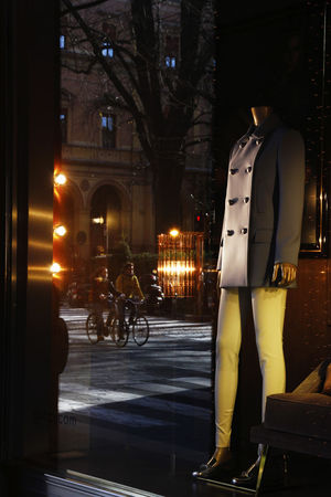 Bologna Bologna, Italy Shop Window Dummy Architecture Bicycle Building Exterior Built Structure City Full Length Illuminated Night People Real People Shop Window Reflection Reflections Reflection_collection Italian Style Made In Italy Italian Model
