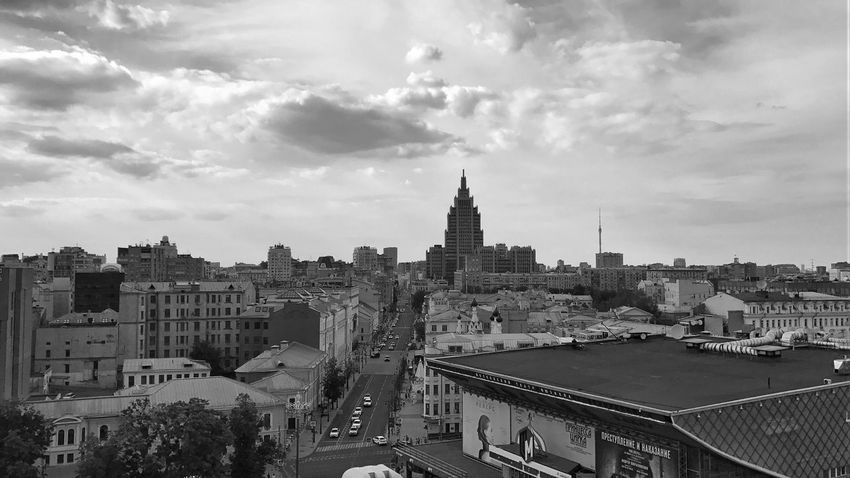Moscow June 2018 Sky Collection Skyline Sky And Clouds Panoramic View Panoramic Landscape Panoramic Photography Panoramic Panorama Black&white Black And White Photography Buildings & Sky Intersection City Street City View  cityscapes Cityscape Urban Photography Urban Landscape Urbanphotography Urban Skyline Building Exterior Architecture Built Structure City Sky Building Cityscape Cloud - Sky Tower
