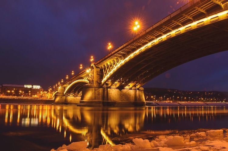 Bridge - Man Made Structure Connection Architecture Built Structure Transportation Reflection Engineering River Water Illuminated Waterfront City Building Exterior Night Travel Destinations Outdoors Arch Sky Margaret Island Margaret Bridge