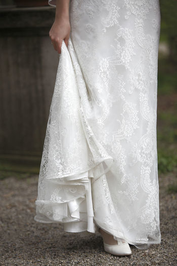 Low Section Of A Bride Outdoors