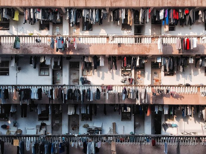Full frame shot of clothes drying on building