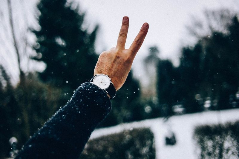 Close-up of hand doing peace in snow
