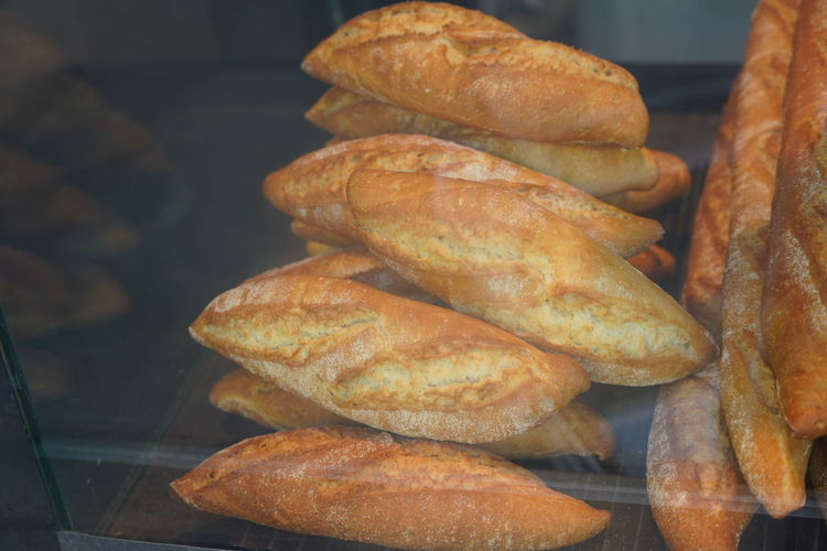 High angle view of bread on table