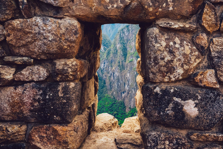 Mountain Seen Through Window Of Old Building At Machu Picchu