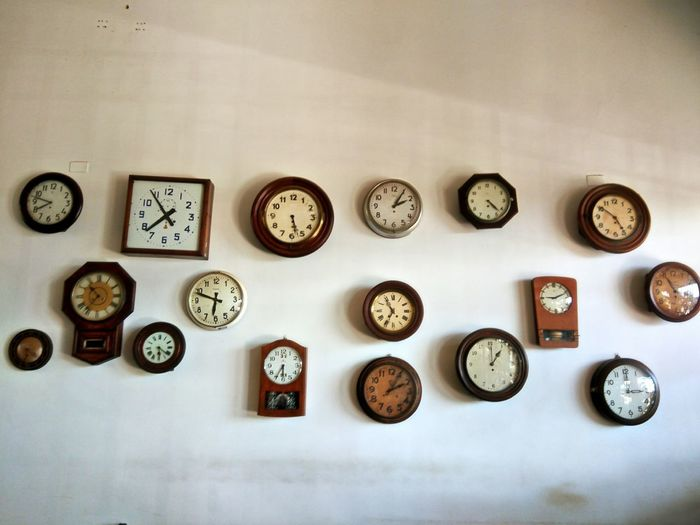 EyeEm Selects Variation Large Group Of Objects Indoors  Clock No People Day Clock Face Wall Decoration Decorative Art Decorating Watches Architecture Arts Culture And Entertainment Architecture_collection Old Retro Retroclocks Vintage Time Timelapse