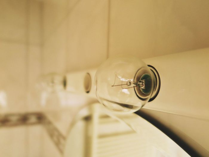 Close up of light bulbs mounted on wall