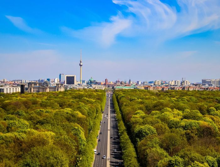 Berlin Photography Berliner Ansichten Siegessäule  TV Tower Tourist Attraction  Spring Springtime Jungle Urban Jungle Forrest Sky City Cloud - Sky Plant Nature Road Street Day No People Blue Tree Outdoors Travel Cityscape