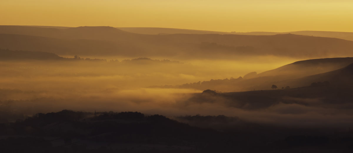 misty valley at