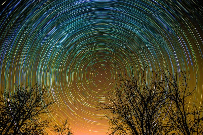 Stars Night Star Trail Concentric Astronomy Star - Space Long Exposure Sky Star Field Time Galaxy Illuminated