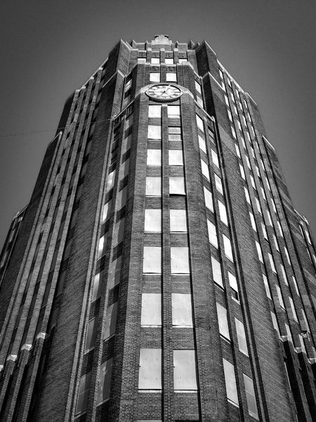 Architecture Low Angle View Building Exterior Skyscraper Modern Window No People City Outdoors Day Sky Black And White Architecture Buffalo, NY Central Terminal